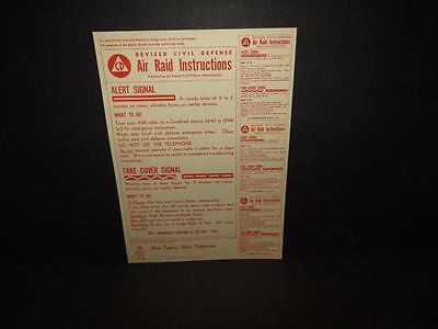 1- 1956 NEW OLD STOCK - Civil Defense Air Raid Instructions Original Poster