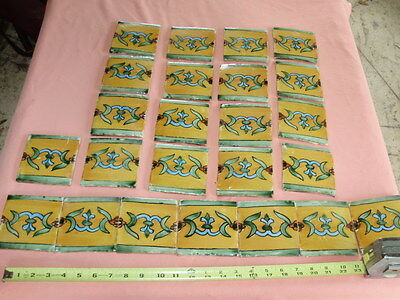 "Set of 24 Primitive Mexican Terra Cotta Tiles 4"" Square - Colorful - Mexico TILE"