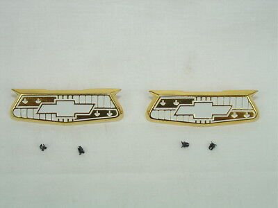 1955 1956 Chevrolet Bel Air Quarter Panel Crests, Emblems with Clips Show -