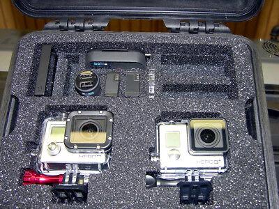 Jet-black Pelican ™ 1300 Case fits  2 GoPro Hero 7 6 5 4 3+ 3  Swart