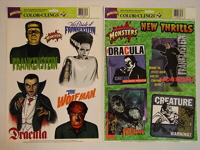 1998 Universal Studios Monsters Color Clings / Stickers - 2 Sheets - NEW - Halloween Coloring Sheet