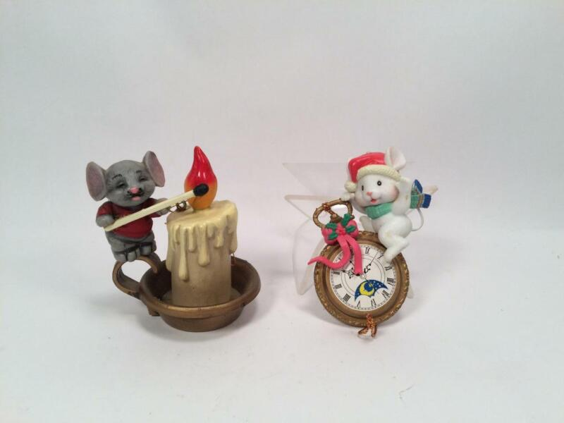 LOT OF 2 CUTE MOUSE CHRISTMAS ORNAMENTS ON POCKETWATCH & LIGHTING A CANDLE