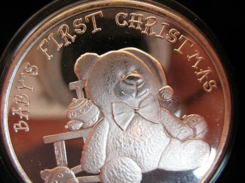 1-OZ.999 SILVER NEW 2020 BABYS 1ST CHRISTMAS CUTE TEDDY BEAR  GIFT BOX COIN+GOLD