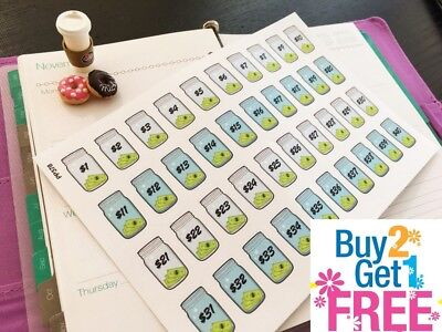 - PP378 -- Money Saving Challenge Planner Stickers for Erin Condren (40pcs)
