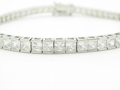 Platinum Sterling Silver White Sapphire Princess Cut Tennis Bracelet Triple Lock