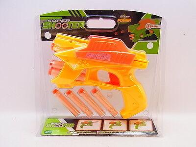 LOT 33080 Kinder Pistole Revolver Gun gelb 8 Schaumstoff-Pfeile Blaster Dart NEU