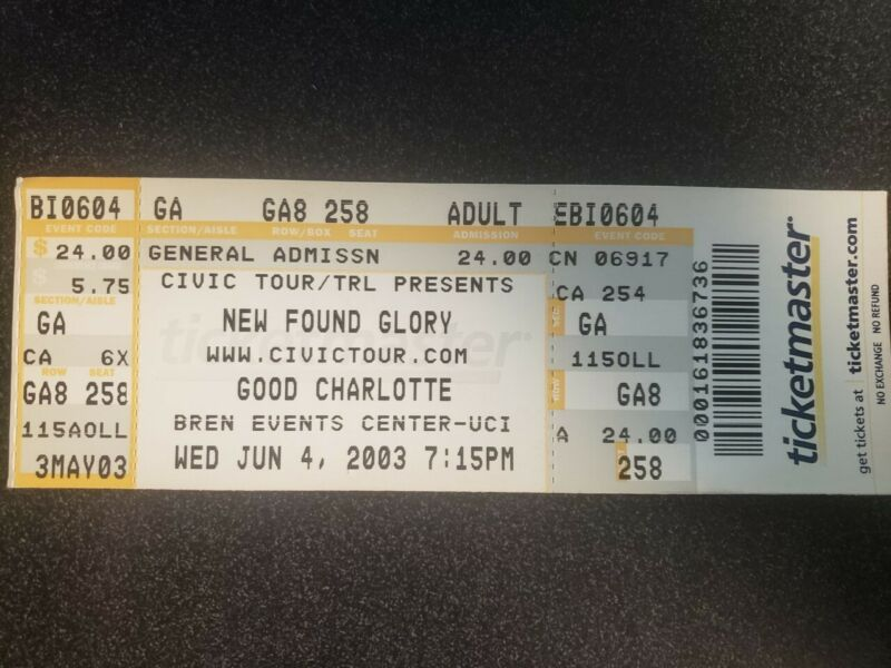 New Found Glory Bren Events Center Concert Ticket 06/04/2003