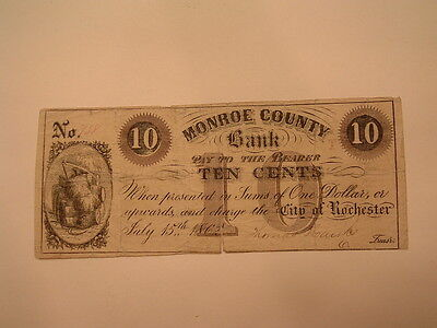 1862 Rochester Ny  Monroe County Bank 10 Cent Note