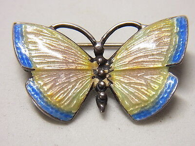 Jugendstil Brosche Brooch Emaille Schmetterling  Silber Silberbrosche  Nr.139
