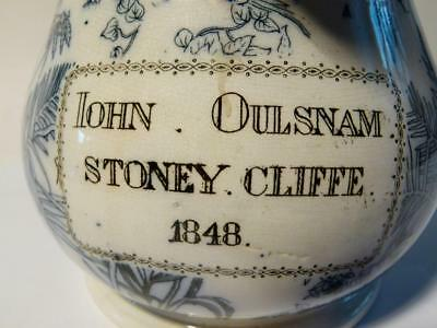 1848 JOHN OULSNAM STONEY CLIFFE Linnaeus No.87 19thC Staffordshire Jug