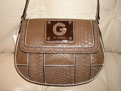 Silver Snake Like Purse (NEW WT GUESS PURSE BROWN TAUPE CROSS BODY BAG LEATHER LIKE SNAKE SILVER HALONA )