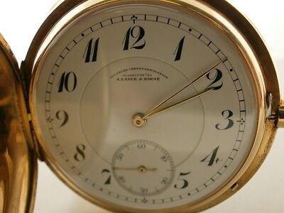 A.Lange & Sohne Glashutte Vintage 27 Size 14K Rose Hunting Case Pocket Watch.