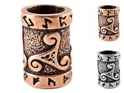 Battle Merchant Mittelalterliche Bartperle mit Runen & Triskele Lockenperle LARP
