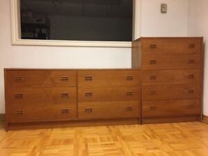 Teak dresser and chest of drawers