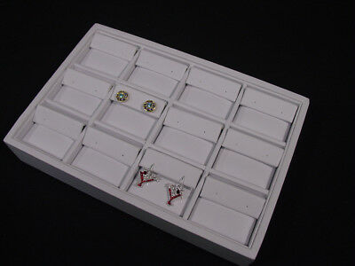 New 12 Section 9l X 6w White Leatherette Earring Tray Display Case Tpe12w