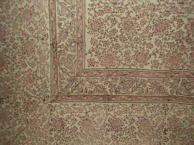 """Daisy Chain Block Print Tapestry Cotton Bedspread 108"""" x 88"""" Full-Queen Pink"""