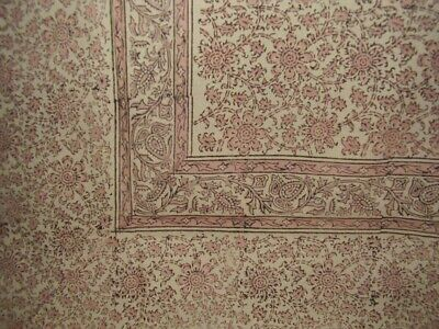 "Daisy Chain Block Print Tapestry Cotton Bedspread 108"" x 88"""