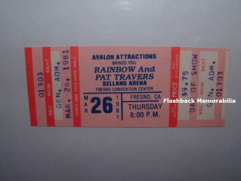 RAINBOW Unused MINT Concert Ticket 1981 FRESNO SELLAND ARENA Rare DEEP PURPLE