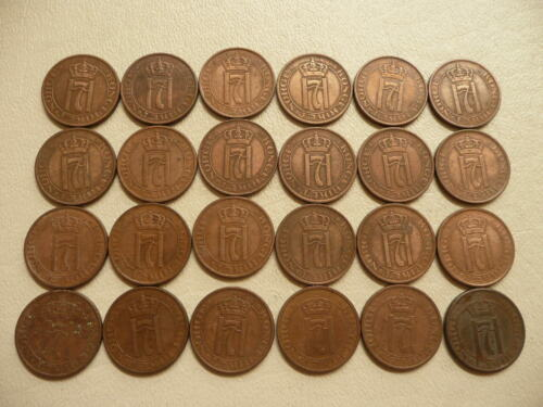 Lot of 24 Norway Coins - 2 Ore