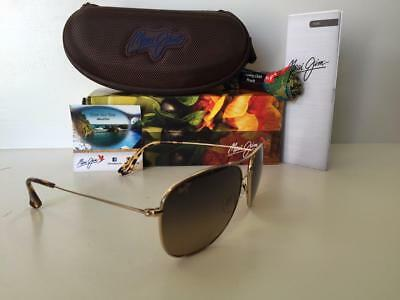 New Maui Jim Cliff House Polarized Titanium Sunglasses 247-16 Gold/Bronze Glass