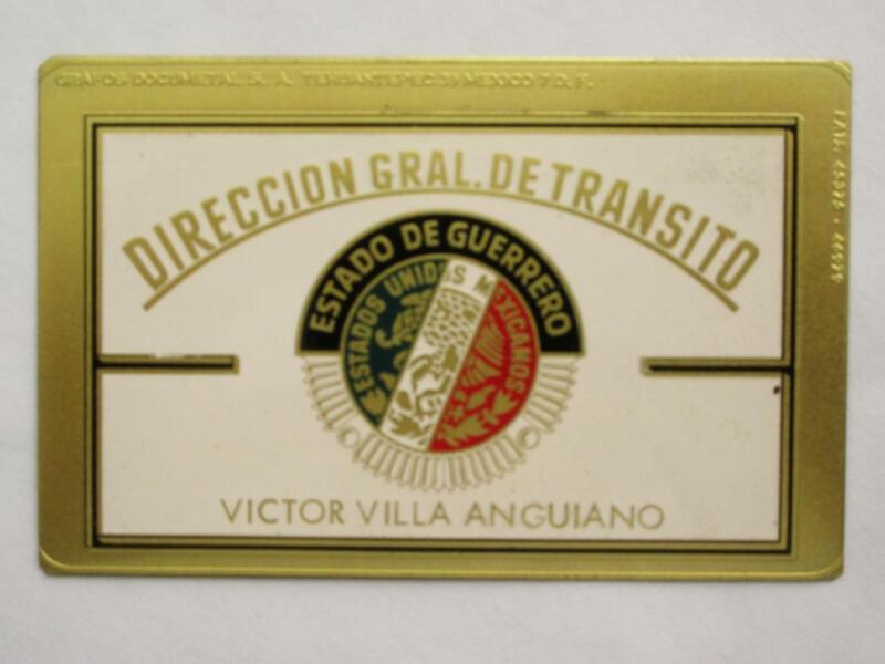 OBSOLETE 1960s GUERRERO MEXICO DIRECCION GENERAL MEXICAN POLICE BADGE ID POLICIA