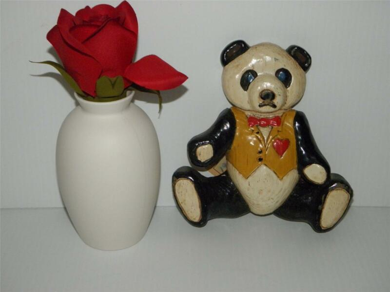 VINTAGE Marble PANDA BEAR COLLECTIBLE w/ Vest and Bowtie