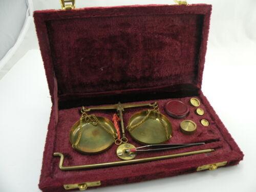 Vintage Brass Jewelry Balance Scale with Velvet Box Screw in base Tweezers