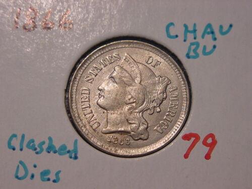 1866 THREE CENT NICKEL CHOICE AU BU NICE DIE CLASHING ORIGINAL PQ COIN