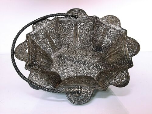 L A R G E  Antique Sudanese  Silver Filigree Basket c.1900
