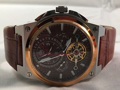 S.U.G. MAGNUM GENTS AUTOMATIC MULTI-FUNCTION WATCH BROWN LEATHER / DIAL