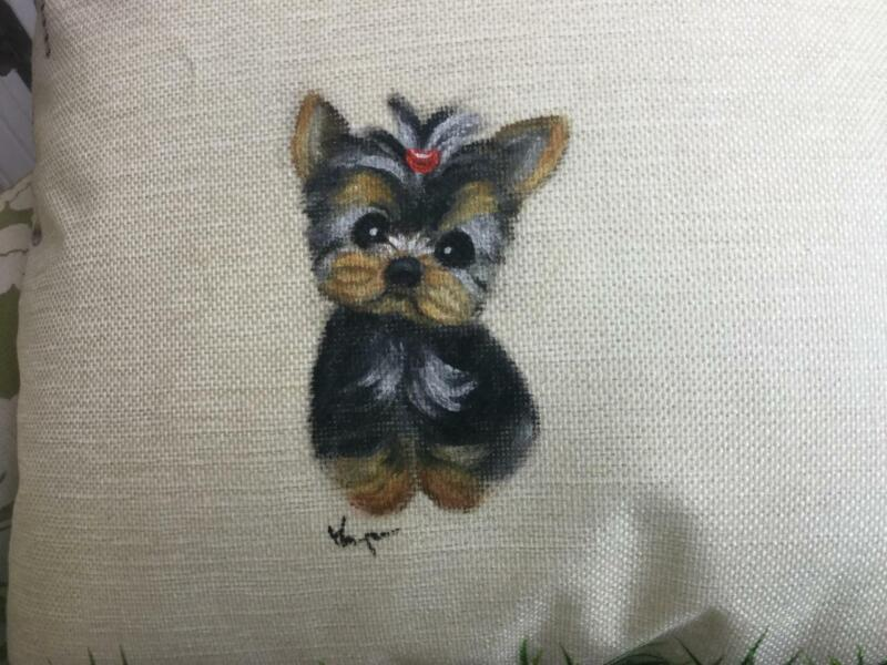 YORKIE PUPPY HAND PAINTED CHRISTMAS PILLOW