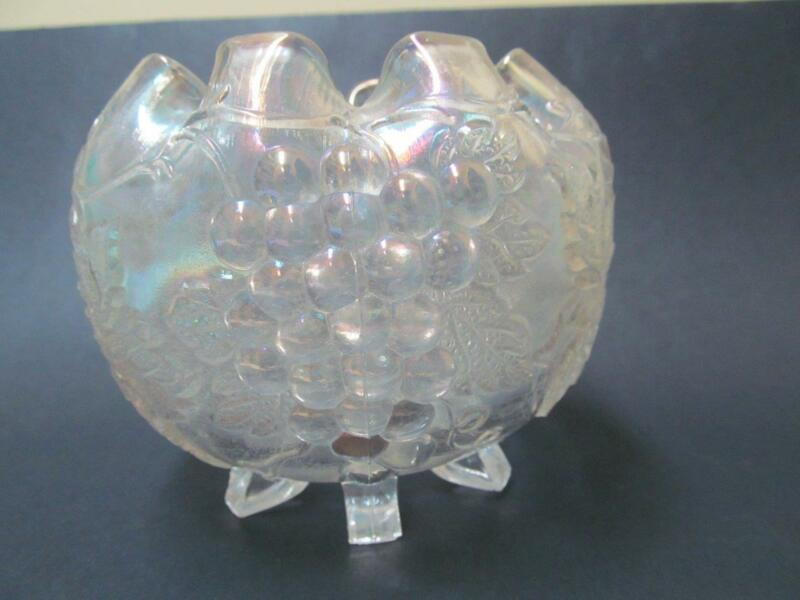 Vintage Dugan Grape Delight Clear Carnival Glass Rose Bowl
