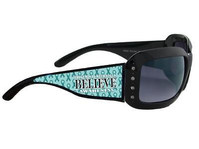 Trigeminal Neuralgia Awareness Believe Teal Ribbon Black Womens Sunglasses S5JT - Teal Sunglasses