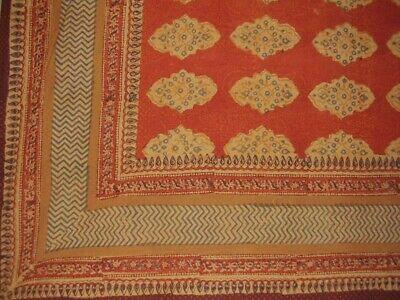 "Kensington Block Print Tapestry Cotton Bedspread 108"" x 108"" Queen-King"