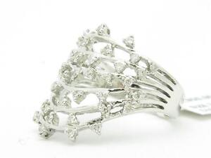 18KT SOLID WHITE GOLD GENUINE WHITE DIAMOND WIDE BAND VINTAGE DESIGN RING GIFT