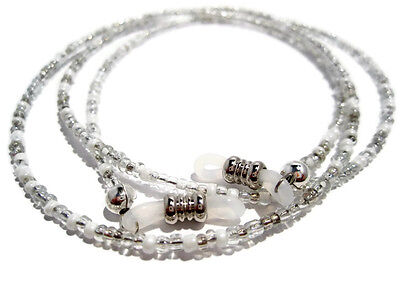 White and Silver Beaded Eyeglass Holder- Holder for Glasses- Eyeglass Lanyard ()