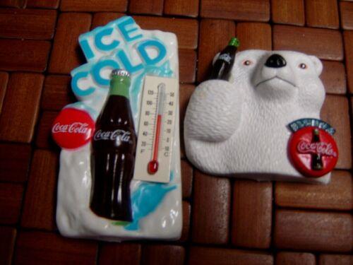2 Coca-Cola Magnets Coke Ice Cold Thermometer & Always Coke Polar Bear 1995