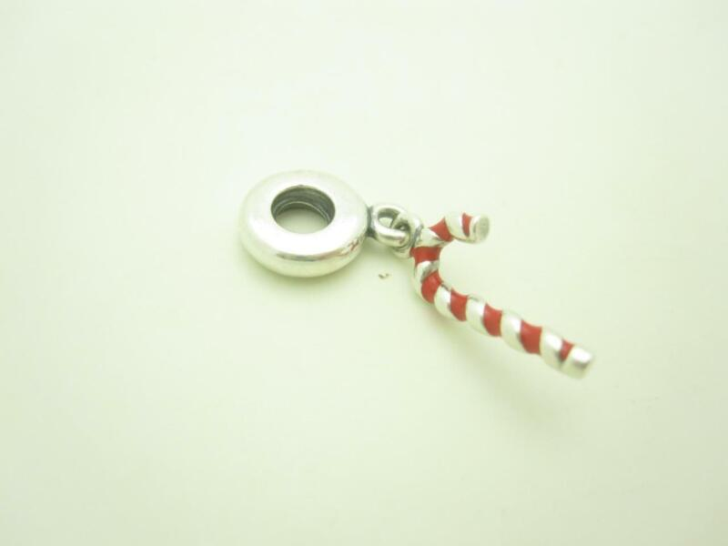 Pandora Sterling Silver Red Enamel Candy Cane Christmas Dangle Holiday Charm