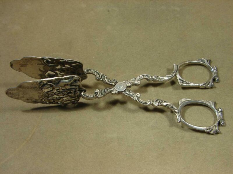Antique Marked MF Mayer & Fuchs 800 Silver Ornate Cherub Scissor Pastry Tongs