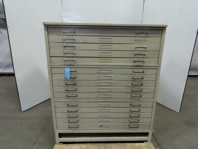 Flat File Blueprint Plans Map Filing Cabinet 15 Drawer 46-14x35-12x55