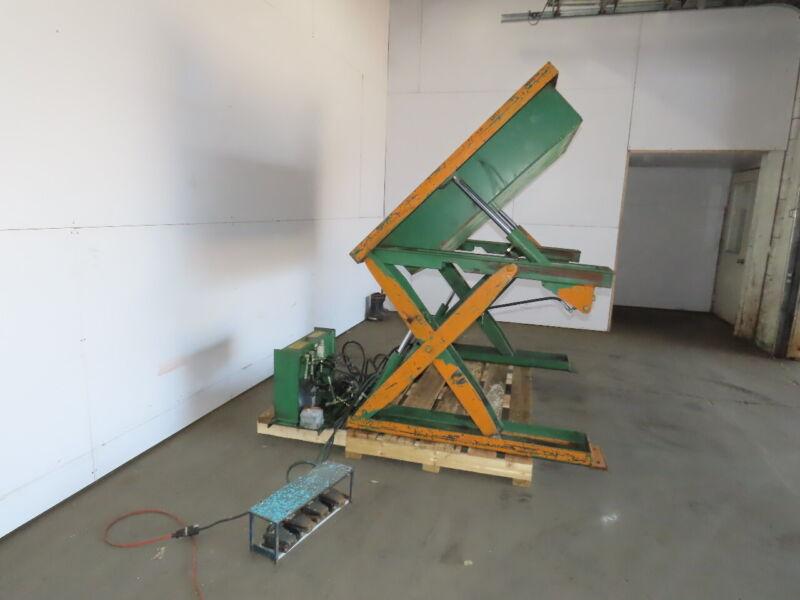 "Air Tech 2000lb Hydraulic Scissor Lift & 45°tilt 50x48"" Table 115v Single Phase"