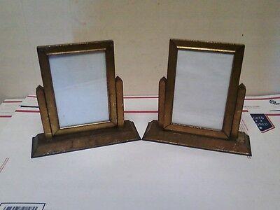 2 Vtg Antq Gold Art Deco Metal Tin Tilt Glass Picture Frame Stand Table/Vanity