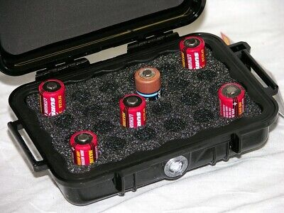 Pelican ™ 1020 Black Hard case holds 24 cr123 and cr2 batteries Free nameplate for sale  Shipping to India