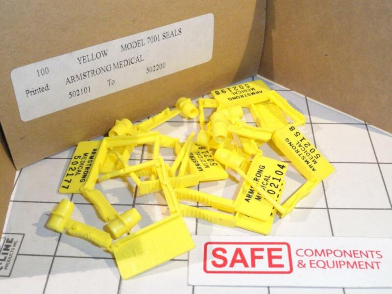 Security 7001 Seals (100) Numbered Yellow Medical Tag Easy Click Padlock X33-11