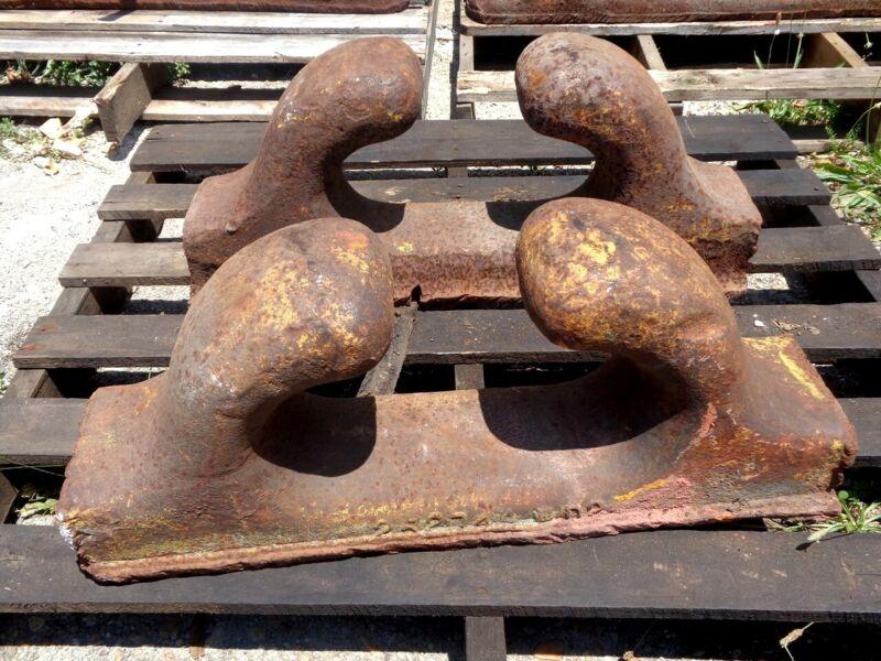 (2) Bethlehem Steel SHIPYARD Boat or Ship CHOCKS, Bollards, Cleats DOCK BULKHEAD