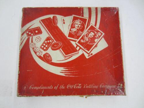 Vintage Milton Bradley 1930s/40s COCA COLA Cribbage Checkers Backgammon Dominos