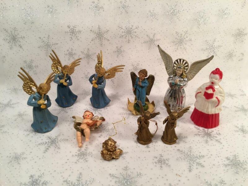LOT OF 10 VINTAGE ANGELS & CHERUBS CHRISTMAS ORNAMENTS PLASTIC GERMANY HONG KONG