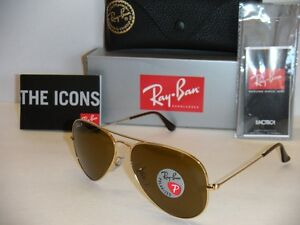 ray ban rb3025 iconic black glass  ray ban aviator rb 3025 001/57 58mm gold frame w brown polarized lenses (