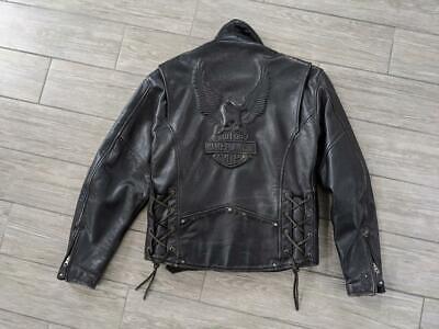 vintage cruiser HARLEY DAVIDSON leather EMBOSSED eagle M black jacket motorcycle for sale  Shipping to India