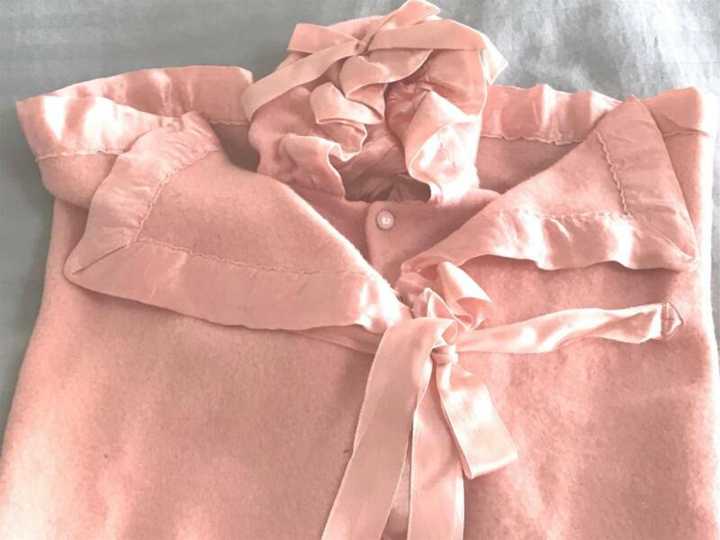 Vintage Hooded Baby Bunting For Antique Doll ~ Pink North Star Wool ~ RobeNHood